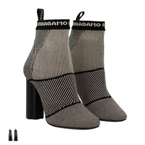 Salvatore Ferragamo Capo Stretch Knit Ankle Boots